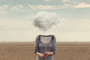 woman with fog above head